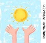 children hands reach for the...   Shutterstock .eps vector #201065744