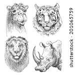 set of safari head animals ... | Shutterstock . vector #201065759