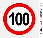 100 max speed limit red sign  ... | Shutterstock .eps vector #2010663191