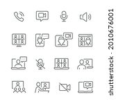 video conference related icons  ... | Shutterstock .eps vector #2010676001