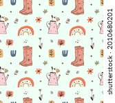 garden rubber boots girl...   Shutterstock .eps vector #2010680201