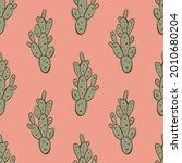 pastel simple doodle cacti...   Shutterstock .eps vector #2010680204