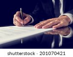 retro image of lawyer signing... | Shutterstock . vector #201070421