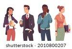 multiethnic business men  women ... | Shutterstock .eps vector #2010800207