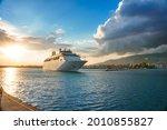 Modern Cruise Ship Leaving The...