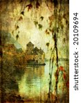 Chillion castle in gloomy autumn weather - picture in painting style - stock photo