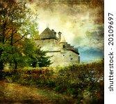 Chillion castle - picture in watercolor style - stock photo