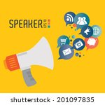 speaker design over yellow... | Shutterstock .eps vector #201097835