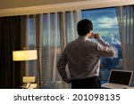 asian businessman take a cup of ... | Shutterstock . vector #201098135