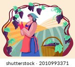 happy woman gathering ripe... | Shutterstock .eps vector #2010993371