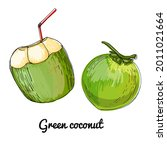 green coconut and young coconut....   Shutterstock .eps vector #2011021664