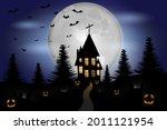 halloween night haunted house... | Shutterstock .eps vector #2011121954