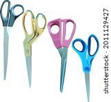 four pairs of large scissors on ...   Shutterstock .eps vector #2011129427