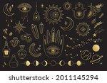 vector set of mystical magic...   Shutterstock .eps vector #2011145294