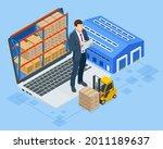 isometric smart warehouse...   Shutterstock .eps vector #2011189637