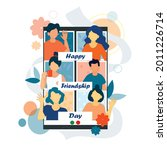 poster of friendship day. in...   Shutterstock .eps vector #2011226714