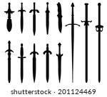 black silhouettes of swords ... | Shutterstock .eps vector #201124469