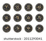 set of 12 zodiac signs with... | Shutterstock .eps vector #2011293041