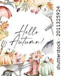 Watercolor Frame Fall Pumpkin...
