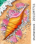 An Exotic Golden Seashell Lying ...