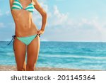 slim and beautiful on the beach | Shutterstock . vector #201145364