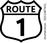 us route 1 sign. shield sign...   Shutterstock .eps vector #2011487651