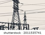 silhouette high voltage towers. ... | Shutterstock .eps vector #2011535741