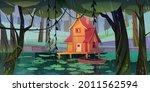 Stilt House At Forest Swamp...