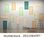 closed doors in room  unknown...   Shutterstock . vector #2011583597