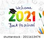 welcome back to school 2021... | Shutterstock .eps vector #2011613474