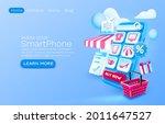 smartphone shopping app banner... | Shutterstock .eps vector #2011647527