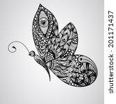 Stock vector vector black butterfly tettoo syle 201171437