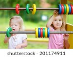 two little sisters learning to... | Shutterstock . vector #201174911
