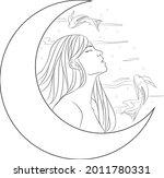 line art pisces girl logo | Shutterstock .eps vector #2011780331