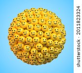 many yellow balls in shape of... | Shutterstock .eps vector #2011823324