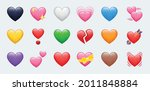 heart color set icons vector...   Shutterstock .eps vector #2011848884