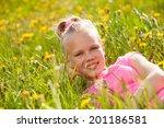 smiling blond girl in yellow... | Shutterstock . vector #201186581