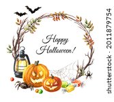 Halloween Pumpkins Round Frame  ...