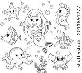 Mermaid And Sea Animals. Fish ...