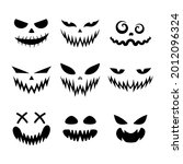 set of scary and funny faces... | Shutterstock .eps vector #2012096324