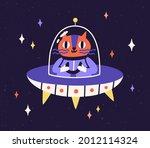 cute cat astronaut traveling in ... | Shutterstock .eps vector #2012114324
