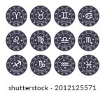 set of 12 zodiac signs. the... | Shutterstock .eps vector #2012125571