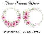 summer flower wreath with...   Shutterstock .eps vector #2012135957