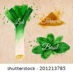 spices herbs set drawn... | Shutterstock .eps vector #201213785