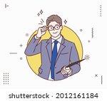 attractive businessman holding... | Shutterstock .eps vector #2012161184