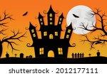 happy halloween haunted house...   Shutterstock .eps vector #2012177111