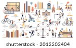 city life scenes and daily... | Shutterstock .eps vector #2012202404