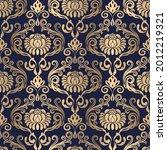 golden seamless damask pattern...   Shutterstock .eps vector #2012219321