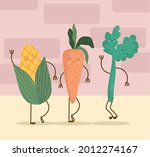 cute vegetables food corn...   Shutterstock .eps vector #2012274167