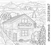 house in the mountains.coloring ... | Shutterstock .eps vector #2012351867
